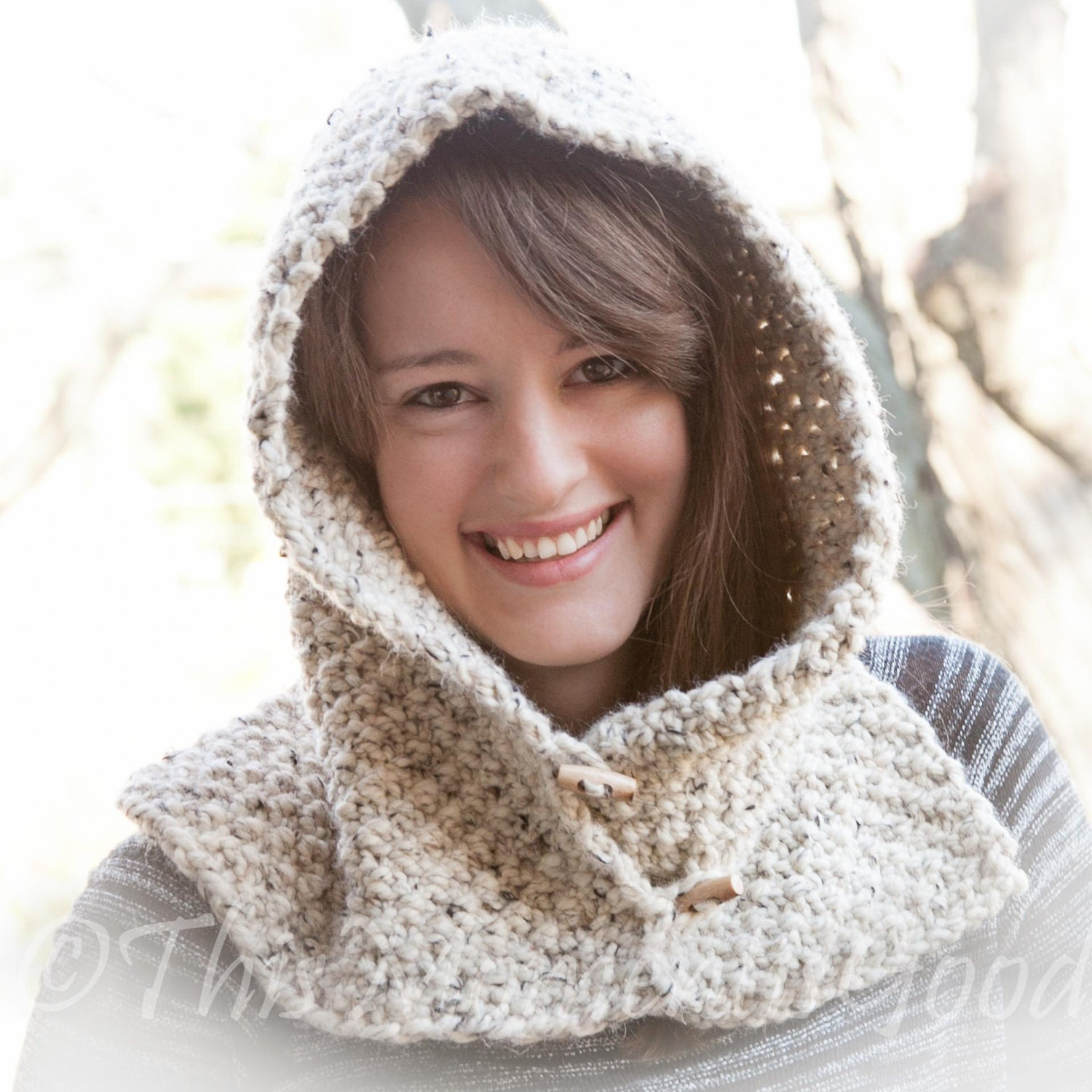 Loom Knit Hood With Cowl PATTERN. Child, Teen & Adult Sizes. Chunky, Over...