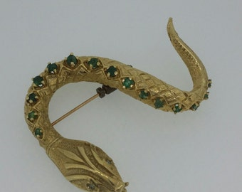 Antique Snake Pin with Emeralds and Diamonds