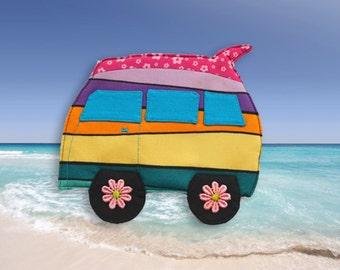 Mug rug, Pink surfboard coaster, camper van wall hanger, teacher gift, retirement gift, rainbow colours, hippie decor, surf dude gift