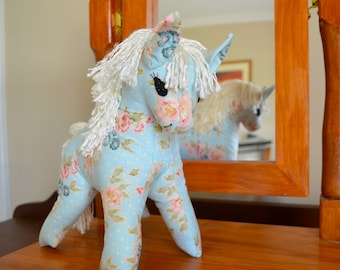 Soft toy horse, Blue pony plushy, animal softie, toy horse, heirloom toy, gift for girl, stuffed toy, stuffed horse, Floral fabric toy