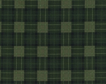 Green Tartan Plaid Fabric, Timeless Treasures Autumn C4338 Green, Pumpkin Patch Green Plaid Fabric, Green Checked Quilt Fabric, 100% Cotton