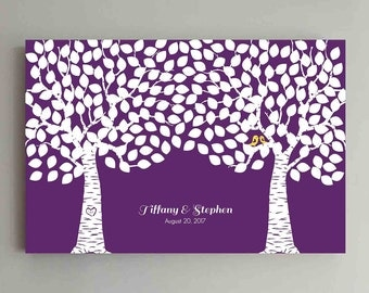 225 Guest Wedding Guest Book Wood Two Double Tree Wedding Guestbook Alternative Guestbook Poster Wedding Guestbook Poster - Purple