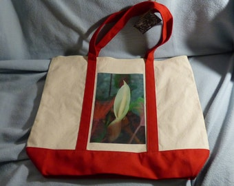 Large Tote Bag with zipper closure - Caladium Flower - Red Accents