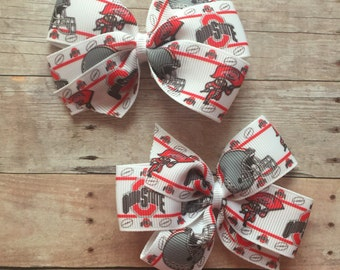 Ohio State Hair Bow Pigtail Set