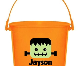 Personalized Frankenstein Trick or Treat Bucket // Frankenstein Trick or Treat Bag // Halloween Frankenstein // Frankenstein