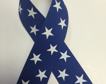 """7/8""""  STARS Grosgrain Ribbon - Dark Royal w/ White Stars -Select # of yards-Made in USA - Great for 4th of July"""