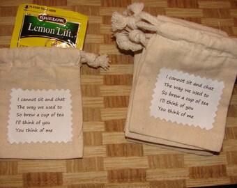 Handmade Tea Bag Gift/Favor-Lot Of Ten In  Burlap Bags