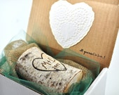 Sweetheart Candle / Carved / Wood Burned Initials / New Couple / Anniversary / Engagement / Wedding / Valentine's Day Gift for Him or Her