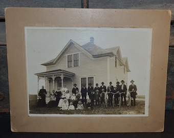 Large Antique Cabinet Card with Bicycles