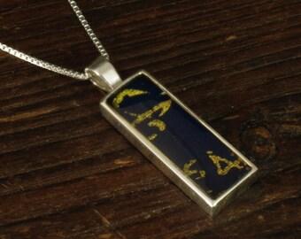 Silver Pendant - Blue/Gold Rectangle