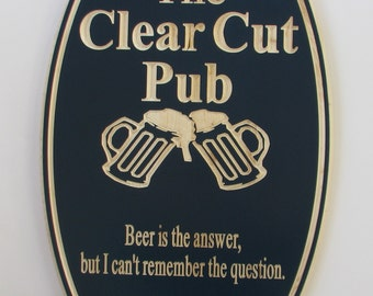 Personalized Bar Sign Pub Sign Man Cave Sign with carved Beer Mugs