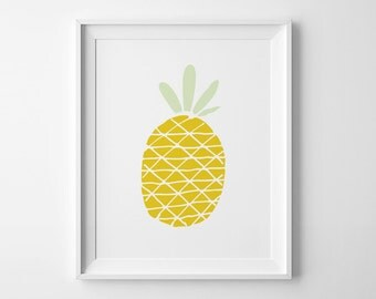 Pineapple print, wall art prints, summer print, pineapple art, playroom decor, summer printable decor, nursery art, kids illustration print