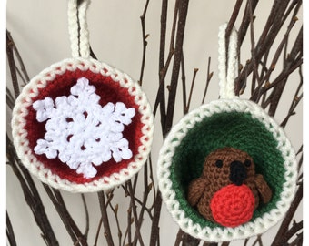 Christmas Bauble Ornaments, Snowflake & Robin Crochet Pattern