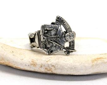 pilgrim ring, canterbury tales ring, english ring, chaucer ring, spoon ring
