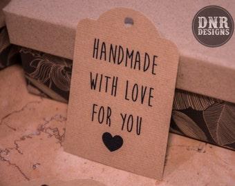 20 Kraft Handmade For You Gift Tags