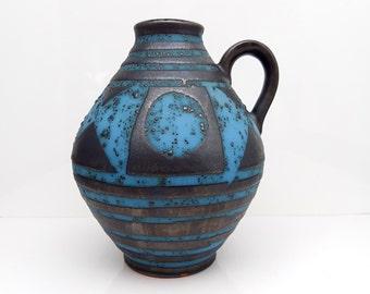 60s Turquoise Pitcher Vase, CARSTENS Tönnieshof 'ANKARA' 1522-14 // West German Pottery // Mid Century Modernist Fat Lava Ceramics