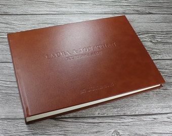 Personalised tan leather photo album – matching personalised leather clamshell box optional - 5 sizes available
