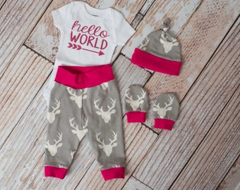 Hot Pink Hello World Baby Deer Antlers/Horns Pants, Hat, Scratch Mitts with Grey and Pink +Glitter Hello World Bodysuit Newborn Coming Home