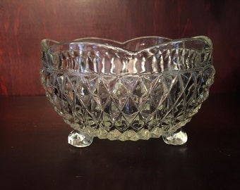 Glass Bowl, Trifooted, Cubed Pattern, Three footed Glass Bowl, Scalloped Edge, Diamond Pattern, Tri Footed Glass Bowl