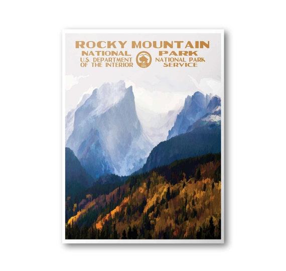 Rocky Mountain National Park Poster: Rocky Mountain National Park Travel Poster