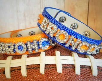 Denver Broncos Inspired Faux Leather Cuff Bracelet- Blue and Orange- Broncos - NFL Accessories and Jewelry