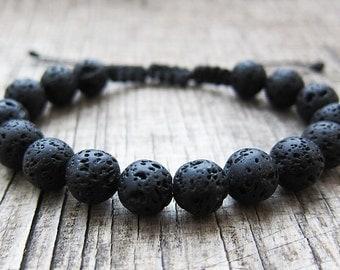 Mens bracelet Protection bracelets Black lava bracelet Macrame bracelets Yoga bracelets Mens jewellery Braided Bracelets Lava rock bracelets