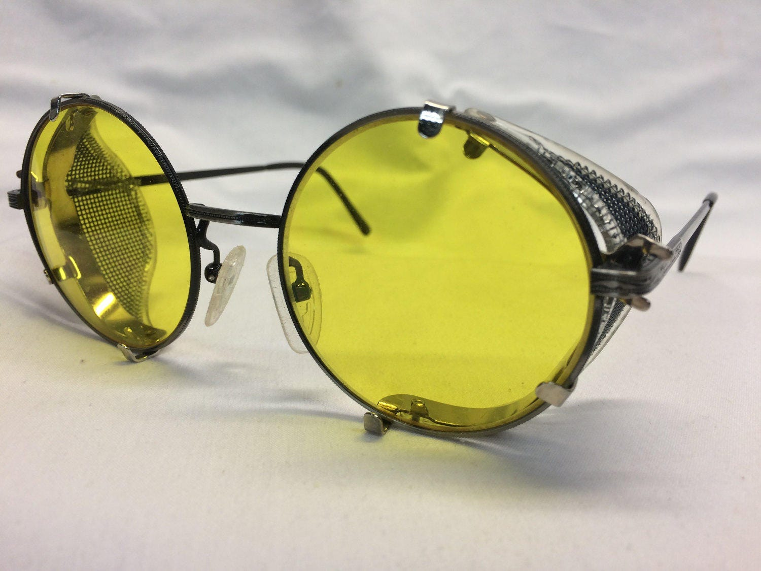 Jean lafont eyeglasses frames - Ghostbusters Metal Round Glasses Dr Holtzmann Inspired Yellow Lens Side Shields