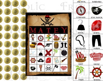 PIRATE bingo 10 printable cards INSTANT DOWNLOAD