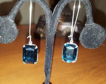 Montana Blue Czech Glass Octagon Rhinestone Gem 18mm x 13mm Antique Silver Dangle Earrings