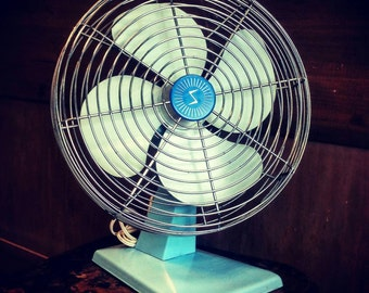 Mid-century Powder Blue Electric Fan Superior Electric Products
