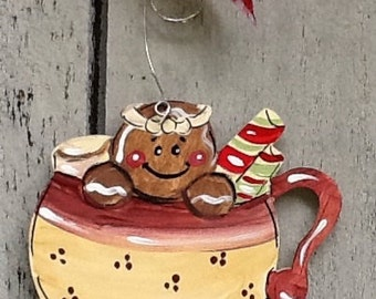 Gingerbread ornament, gingerbread gift tag, cookie jar ornament, gingerbread baker ornament, kitchen ornament, cafe ornament, 1st christmas