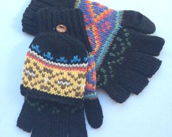 "Black, Soft, Handmade 100% Alpaca ""Diamond"" Hooded Mitten/Glove. Terrific Gift! Multi Functional! Perfect as texting gloves!"