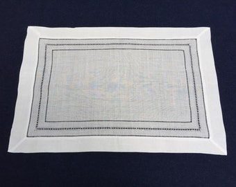 Set of 12 White Linen Cloth Multi Hemstitch Table Placemats 14x20 Inch **Free Shipping**