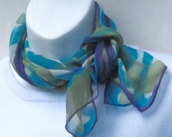Hand painted chiffon neck scarf: olive, turquoise, purple on white.  Small summery painted chiffon silk scarf.