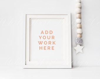 "Styled stock photography - White nursery theme frame mock up - 8x10"" - 20x25cm - Jpeg + PSD smart object + PNG file - For prints showcases"