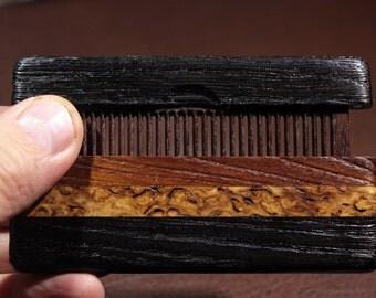 Beard comb in the case of bog oak 5400 years old, 40 years old bog oak