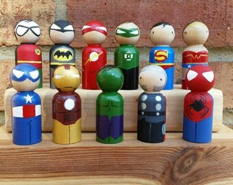 Complete Set - Small Peg Superhero Wooden Peg Doll / Cake Topper /Collectibles /Stocking Stuffers