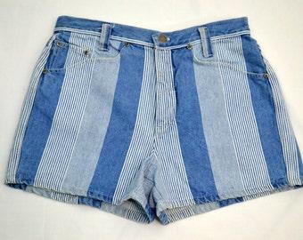 Vintage vtg 1980s 80s 1990s 90s GOODFELLOWS Blue and White Stripe High Waist Waisted Shorts Women's Clothing Medium M