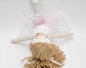Handmade cloth doll, fabric doll, hand made doll, soft doll, yarn hair, pink tutu skirt, 18 inches doll, christmas doll, modern doll