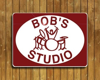 Drum sign, personalized for you with a drummer, or a set of drums