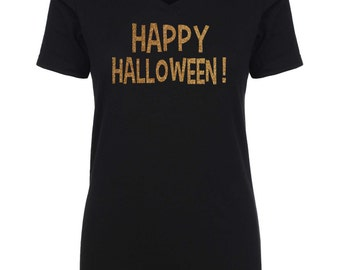 GOLD GLITTER Halloween Shirt . Happy Halloween t-shirt . Womens halloween shirts.  Ghost, goblin, witch, broom shirt.