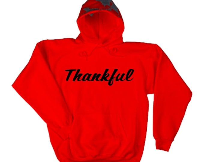 Thankful Pull over hoodie- Slouchy oversized- Red hoodie