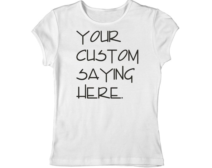 Custom Fitted Scoop Neck Shirts For Women. Personalized Womens Shirts. Womens Custom and personalized t-shirt - WHITE SHIRT qwith Black