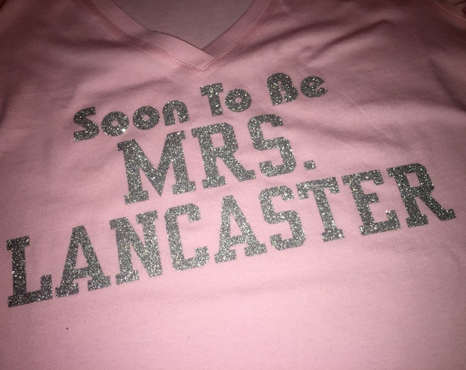 soon to be mrs shirt - bachelorette party t-shirt - bride shirt - bachelorette shirt - bride to be shirt - last name shirt - SILVER GLITTER