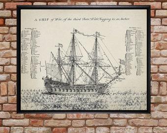 Warship Print - Tall Ship Poster - Ship Illustration - Ship Design - Navy Poster - Sailing Ship Diagram - #vi247