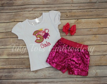 Fairy Peppa Pig Birthday Outfit ~ Includes Top, Sequin Shorts and Hairbow ~ Customize in any colors!