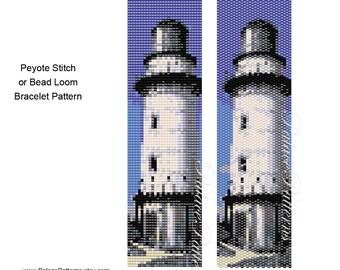 Lighthouse 2 Peyote Stitch or Bead Loom Bracelet Bead Weaving Pattern