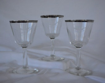 Trio Silver Rimmed Stem Ware * Cordial Glasses *Dorothy Thorpe Style * After Dinner Cordial * Dessert Wine *