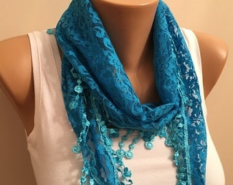 Greenish Blue Lace Scarf, Womens Fashion, Gift, Bridesmaid Gift, Modern, Lace Shawl, Women'accessory,Gift for Her, Turquoise Scarf