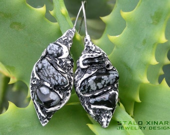 Snowflake Obsidian clay earrings, crystal healing stones, spiritual yoga jewellery, ooak boho style, Valentines gift, for her, women jewelry
